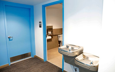 Sparkling clean washroom and water fountains for our guests.