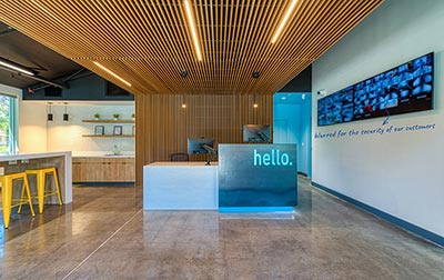 A welcoming lobby and workspace with free WiFi.