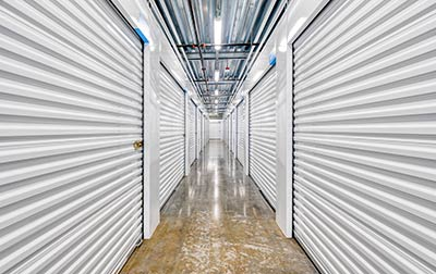 Indoor, clean, bright, and secure storage units.