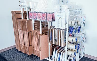 Packing supplies, boxes, and locks for your convenience.